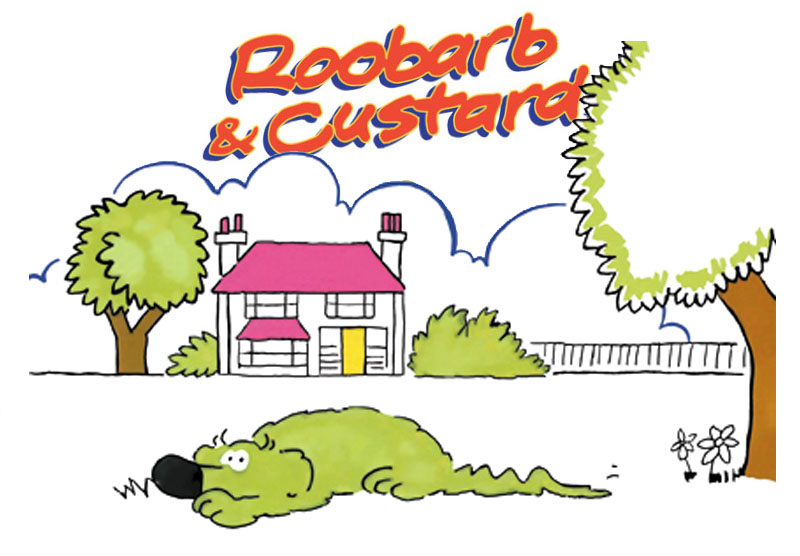 Roobarb the funny green dog; an icon of British children's cartoons and animation