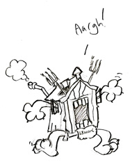 One of the many funny doodles; invasion of the shed monster!